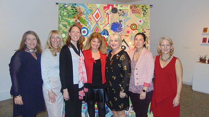 New Dominion Women's Club (NDWC) Board and Committee members (from left): Kitty Gonzalez, Monica Gibson, Jessica Faust, Kimberly Briggs, Jennifer Salopek, Kim Marinus, and Lori Carbonneau at the Arts Night Out event last Thursday in McLean.