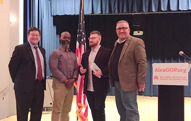 Mike Ginsberg, Suburban Virginia Republican Coalition co-founder; Michael Clinkscale, recent GOP City Council candidate; Colton Worley, Alexandria Area Young Republicans Vice Chairman; and Sean Lenehan, chairman, Alexandria Republican City Committee at the committee's January meeting.