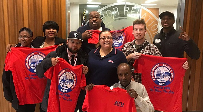 Alexandria DASH bus drivers and Amalgamated Transit Union members at a National Labor Relations Board meeting in Washington, D.C., before a Nov. 15 vote by DASH drivers to unionize.