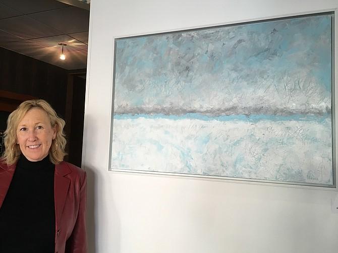 Sandi Parker with her artwork.