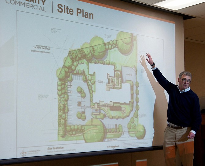 Herman Diebler, principal of development, design and construction firm Verity Commercial of Reston, explains the boundaries and specifics of the proposed Residences at Colvin Run Assisted Living Community that he and partners hope to build on Walker Road in Great Falls.