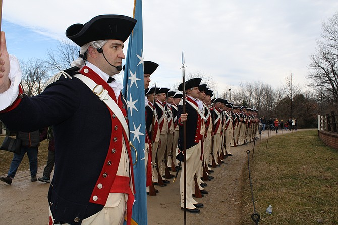 Standing at attention in Mount Vernon for George Washington's Birthday.