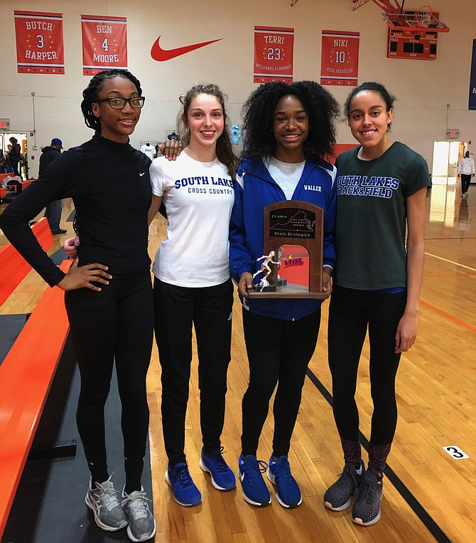 South Lakes High School's 4x400 meter relay team (from left): Juviannadean Mullings, Emily Lannen, Hannah Waller, Mary Gregory.