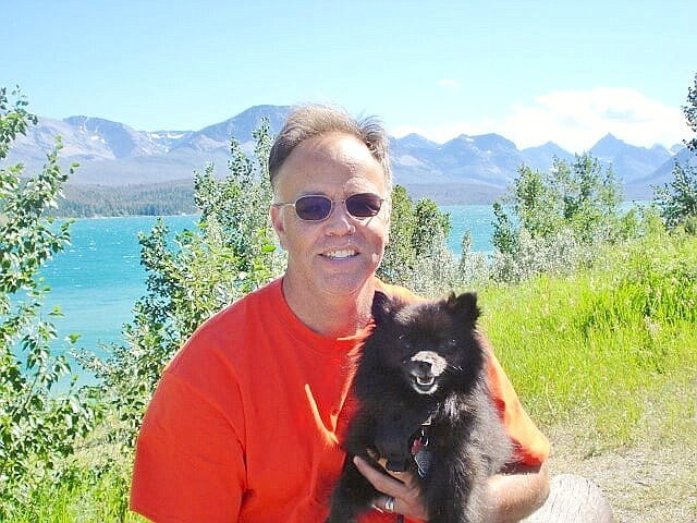Bruce Andrew Peters with Atlas, on vacation at Glacier National Park.