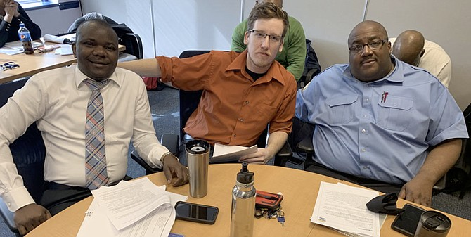 "DASH bus drivers, part of ATY Local 689's collective bargaining negotiating committee. From left are Didier Balagizi, Tyler Boos, and Alphonza ""Big Al"" Clements."