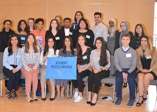 The winners of the 2019 Fairfax Student Peace Awards. The students from all around the county are honored for the work they do to sow the seeds of peace, resolve conflict, and promote understanding among the diverse people of Fairfax County, in their schools and in the community.