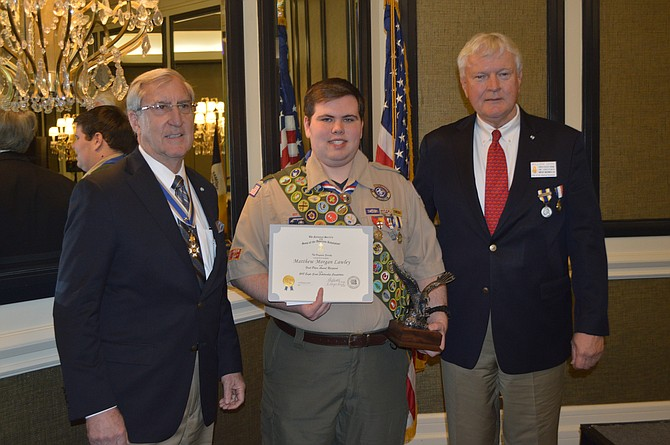 Matthew Lawley, a Herndon High School graduate and current freshman at Northern Virginia Community College was awarded the 2019 Arthur M. and Berdena King Eagle Scout Award by the Virginia Sons of the American Revolution.  Matthew is pictured with Virginia SAR Eagles Scouts Chair on the left, and Bill Denk of McLean, Fairfax Resolves Eagle Scouts Chair.