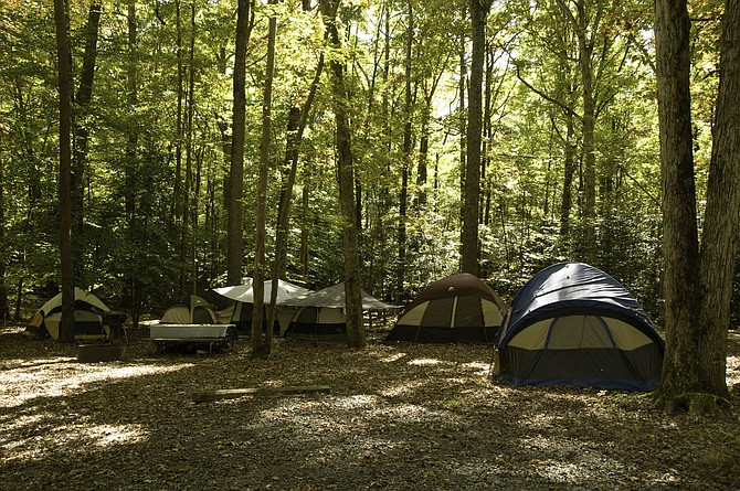 Tents are the most common way the campers at Burke Lake use to experience the 'roughing it' lifestyle.