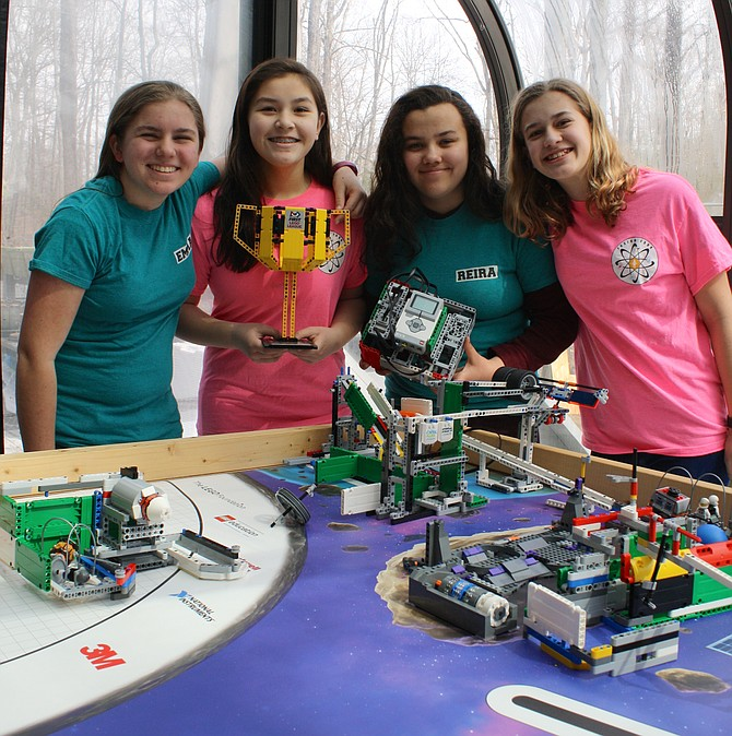 Fusion Four First Lego League Robotics team from Burke consists of seventh graders Emma Hrabak, Minah Sisco, Reira Erickson and Devon Rudolph.