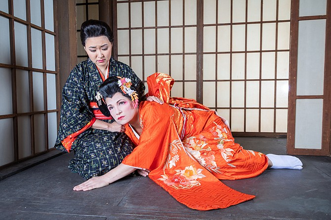 "In rehearsal for ""Madama Butterfly"" (from left):  Kristen Choi as Suzuki and Danielle Pastin as Cio-Cio-San (Madama Butterfly)."