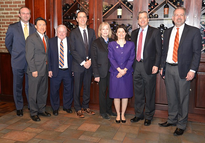 "Members of the Greater McLean Chamber of Commerce join their Virginia General Assembly representatives for a photo after the ""Legislative Wrap-Up"" at J. Gilbert's steakhouse restaurant on March 14. From left: Chamber president Paul Kohlenberger, Del. Mark Keam, MCC board member Jim Nelson, Del. Marcus Simon, Del. Kathleen Murphy, Sen. Barbara Favola, Del. Rip Sullivan, MCC chair Brian Potter."