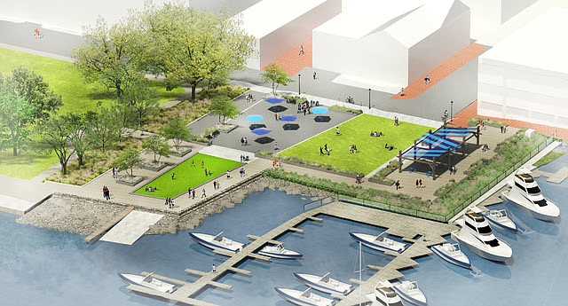 The new Waterfront Park combines the original King Street Park and Waterfront Park sites with the sites of the former Old Dominion Boat Club building and parking lot.