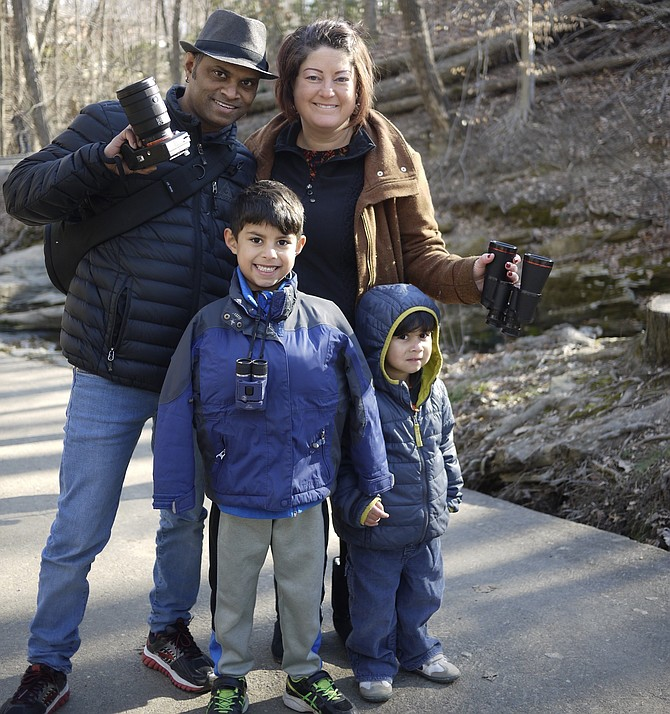 """Swapnil Bhartiya, with his wife Jennifer and two sons, Aadi and Neev, said he is a technology reporter and doesn't usually go out on walks but his wife """"made him come"""" and he was glad she did. It felt great to get the boys away from electronics, he said."""