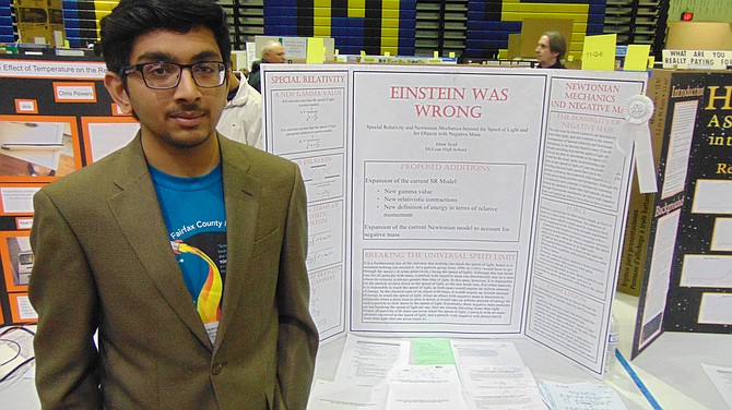 "McLean High School student Abrar Syed of McLean won first place in Physics and Astronomy and was a finalist for the grand prize. His project was ""Einstein Was Wrong."""