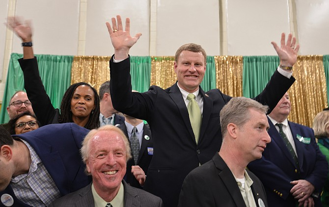 "The winner – at least according to the Straw Poll. Lee District Supervisor Jeff McKay ""won"" his election to chairman of the Fairfax County Board of Supervisors with 57.5 percent of the 500 ballots cast at Connolly's St. Pat's Day Bash. ""But it's a great start,"" said the candidate."