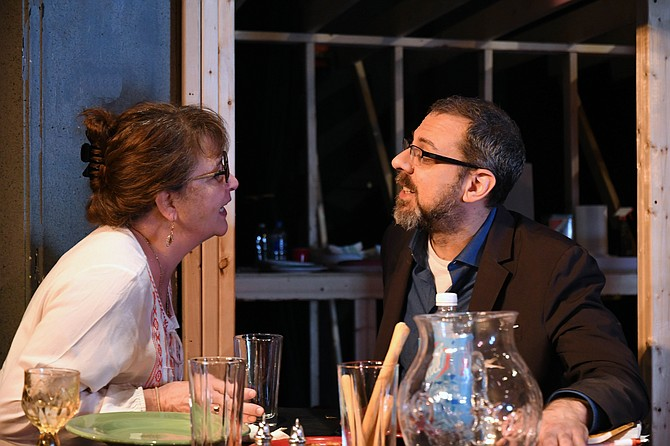 "Providence Players in rehearsal for ""August: Osage County"": Beth Gilles Whitehead as Barbara Fordham and Clint Bagwell as Bill Fordham."