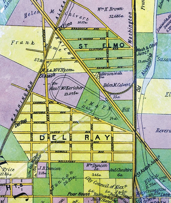 This insurance map from 1900 shows the location of the infamous St. Asaph Racetrack in proximity to the St. Elmo neighborhood and the Del Ray neighborhood.