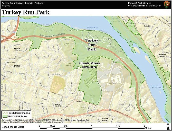 The 69-acre Claude Moore farm area is within Turkey Run Park, one of many sites managed by the National Park Service along the George Washington Memorial Parkway.