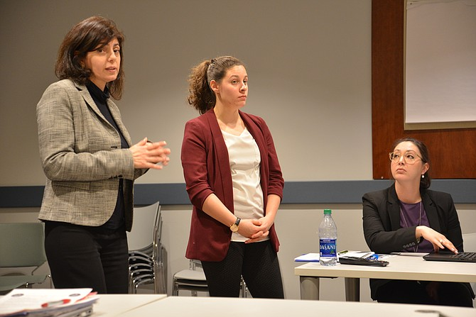 From left: Attorneys Lourdes Venes, Alina Launchbaugh, and Alexandra Lydon formed the panel to discuss Human Trafficking at the McLean District Station Citizens Advisory Committee meeting on March 21.