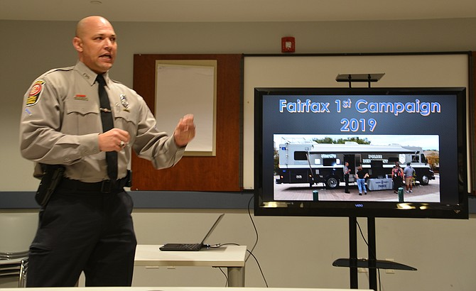 Det. Shawn Carroll addresses the McLean District Station Citizens Advisory Committee about the recruitment efforts and needs of the Fairfax County Police Department.