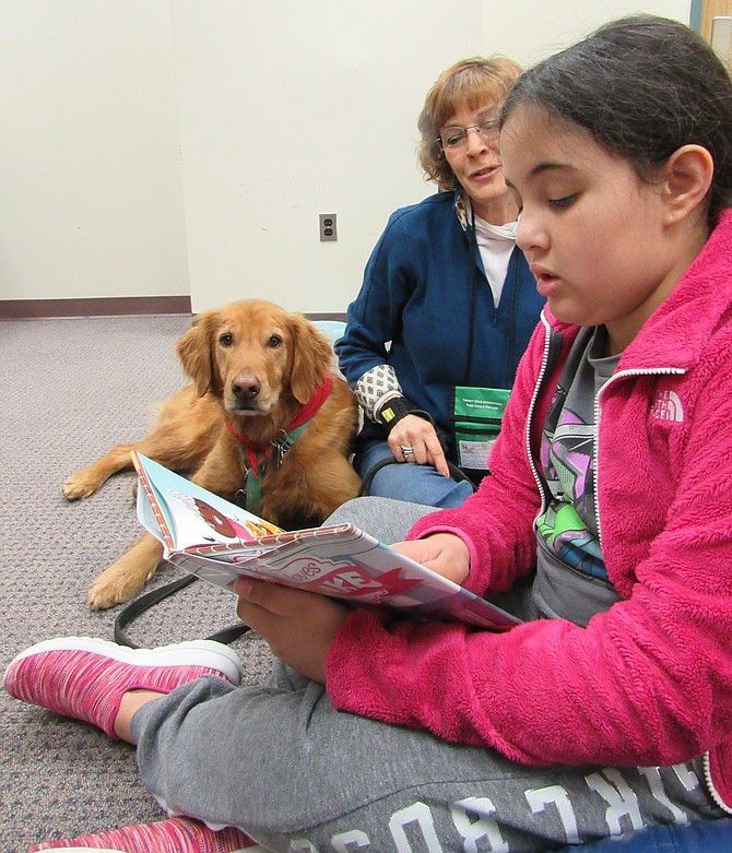 "Ava Robertson, 9, of Herndon, reads her book, ""Everyone Loves Cupcake,"" to Copper and his handler Julie Galton of Oakton, during Dog Tales, a reading program at Herndon Fortnightly Library."
