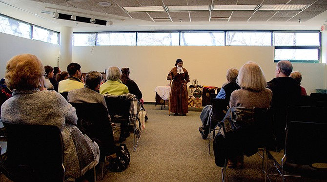 A crowd attended the March 23 performance of Janice Curtis Greene, telling the story of Harriet Tubman, at the Potomac Library.