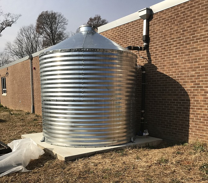 The rainwater cistern serves Hollin Meadows Elementary School Outdoor Education Program's Learning Production Garden.