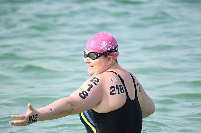 Special Olympics USA team athlete Jennifer Mitchell of Alexandria learns she takes the gold in the1500m Open Water Swimming competition with a time 00:41:27.00.