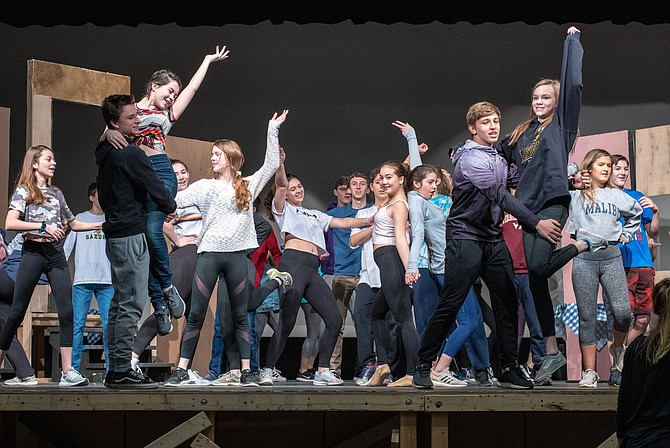 Making of 'Mamma Mia': Langley High students in rehearsal.