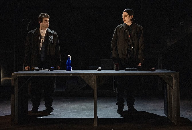 "From left: Rocky Nunzio and Patrick Joy in ""columbinus"" at 1st Stage. The show runs through April 20 in Tysons."