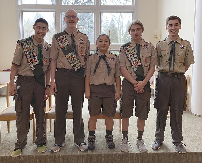 From left: Nathaniel Hauda, Nicholas Hodge, Melinda Hauda, Nathaniel Raudenbush, JP Diaz, Senior Patrol Leader for Boy Scout Troop 55.