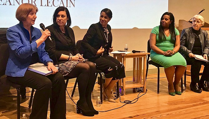 From left: Eleanor LeCain, Stephanie Landrum, Michelle Millben, Del. Charniele Herring (D-46) and Eleanor Smeal speak about their civic activism experiences.