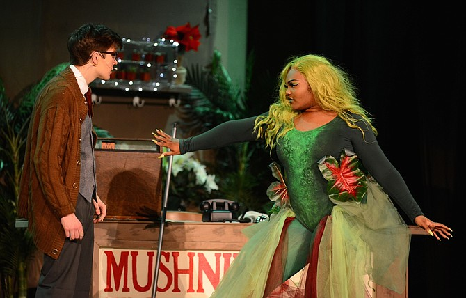 "Ethan O'Donovan and Audrey Somerville in Bishop O'Connell High School's ""Little Shop of Horrors."""