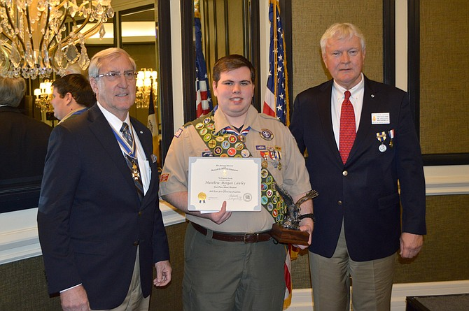 Matthew Lawley, a Herndon High School graduate and current freshman at Northern Virginia Community College was awarded the 2019 Arthur M. and Berdena King Eagle Scout Award by the Virginia Sons of the American Revolution – after successful runs through local competition. He will now be eligible to compete and the national level in the summer. Matthew is pictured with Virginia SAR Eagles Scouts Chair on the left, and Bill Denk of McLean, Fairfax Resolves Eagle Scouts Chair.