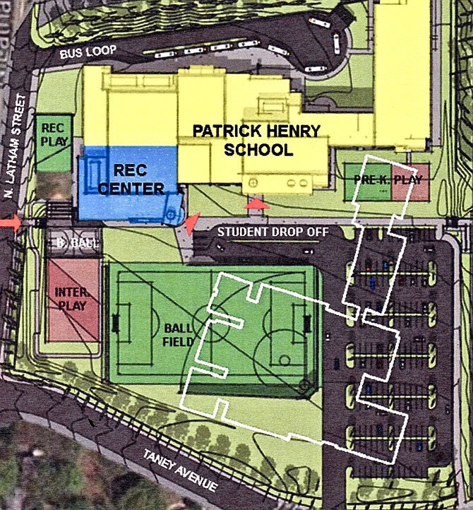 "The School Board decided to repurpose the old Patrick Henry building (white outline) as a temporary ""swing space,"" in order to accelerate the rebuilding of Douglas MacArthur Elementary School. Delaying the old building's demolition until MacArthur completes will also delay the construction of new athletic fields and parking for the new Patrick Henry School, which opened in January."