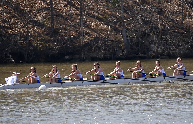 The T.C. Williams women's frosh eight placed second at the Walter Mess Regatta on Saturday, April 6. The lineup in the women's frosh eight includes: Maddie Glanz (cox), Shevlin Jaffe, Zoe Lutzker, Nikki Harris, Taylor Motsinger, Ella Scontras, Violet Knott, Maile Organek, and Sofia Landivar.