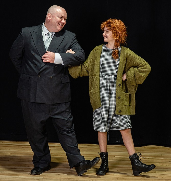 Doug Marcks as Oliver Warbucks and Kylee Hope Geraci as Annie in Reston Community Players production of 'Annie.'