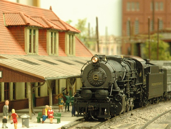The picture is one of the HO gauge steam engines stopping at the Salisbury station. This is an award-winning model of the real station in Salisbury, NC.