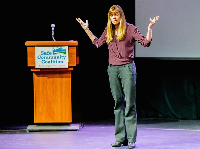 More than 250 people turned out at the Alden Theater Monday, April 1 to hear Lynn Lyons discuss youth anxiety.
