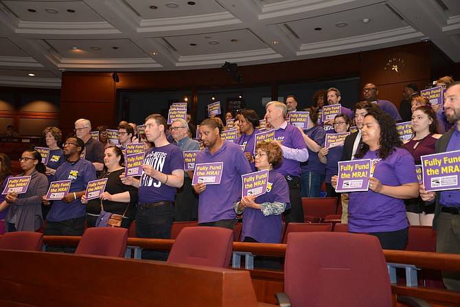 Showing their support for a 2.5 percent Market Rate Adjustment for county employees: Dozens testified at the budget public hearings, expressing disappointment that only 1 percent for the MRA was included in the Advertised Budget by County Executive Bryan Hill.