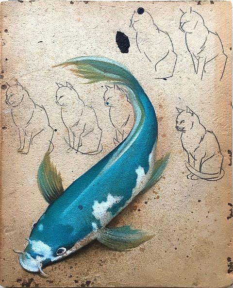 Koi miz Katzen by Astrid Kohler. Art Exhibit by Morton Fine Art through April 27.