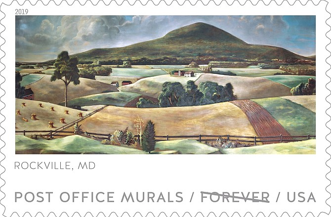 """Sugarloaf Mountain"" (1940), Rockville, MD forever stamp issued on April 10."
