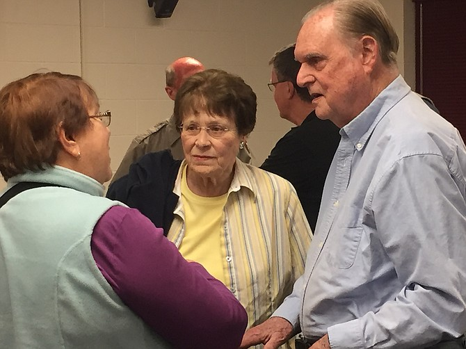 West Montgomery members Barbara Hoover, Carol and Clayton Embrey chat after the well-attended meeting.