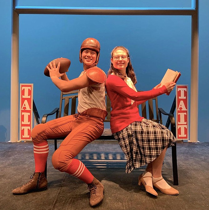 "Eli Nygaard and Madeleine Tyler are in Fairfax High's musical, ""Good News."""