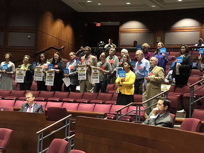 Affordable housing supporters at a Fairfax County budget hearing.