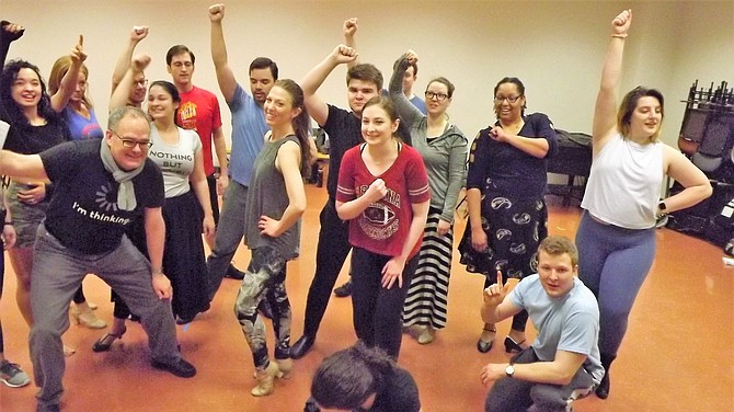 "The ensemble of TAP's production of ""Curtains,"" which runs April 26 to May 11."