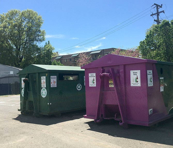 The Quincy Park glass recycling container where glass bottles can be recycled.