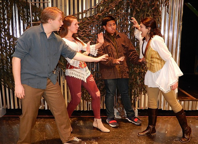 "Rehearsing a volatile scene from ""A Midsummer Night's Dream"" are the lovers (from left) Cullen Kendrick (Demetrius), Haley Herman (Helena), Matthew Mendoza (Lysander) and Jenna Antonacci (Hermia)."