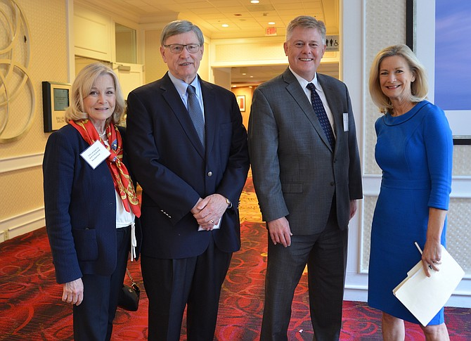 From left: Del. Kathleen Murphy (D-34), Dranesville District Supervisor John Foust, and Braddock District Supervisor John Cook join event emcee Julie Carey, Northern Virginia Bureau Chief for NBC News4 before the annual FACETS Benefit Breakfast program got underway.