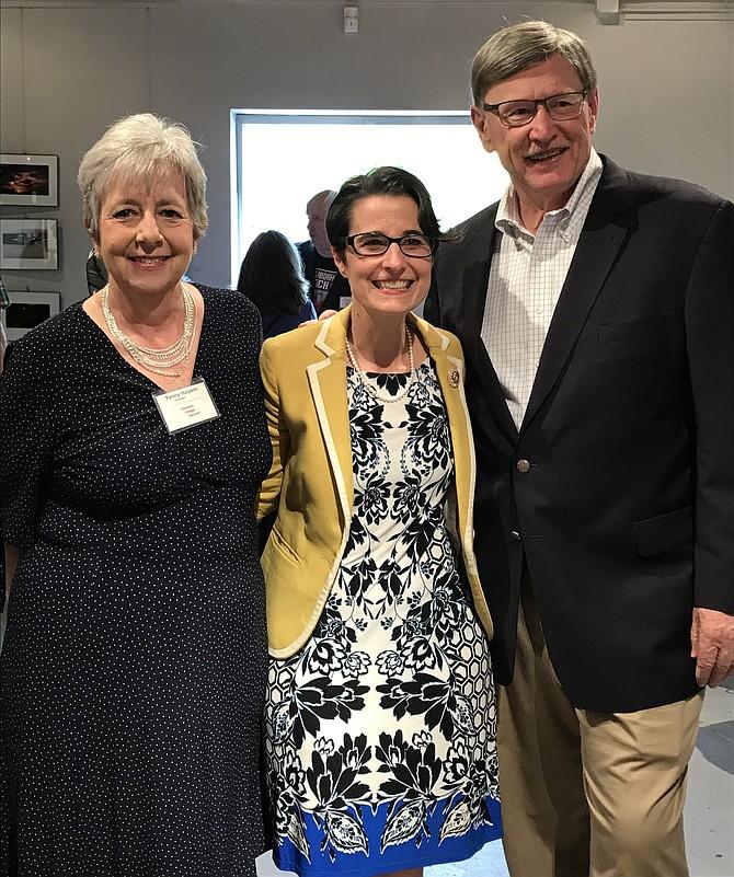 Penny Helpern, President, Herndon Village Network; Sen. Jennifer Boysko, (D-33); and Supervisor John Foust (D-Dranesville) at HVN's fourth birthday party.
